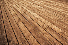 Rustic Wooden Floor Board in Perspective Royalty Free Stock Images