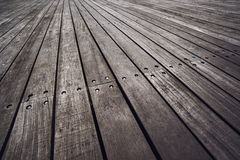 Rustic Wooden Floor Boardwalk in Perspective Royalty Free Stock Photos