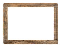Rustic wooden frame isolated on white. Background Royalty Free Stock Images
