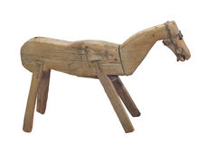 Rustic wooden hobby horse isolated. Stock Photos