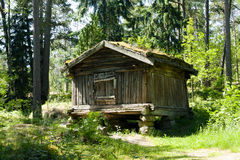 Rustic wooden house in the open-air museum Seurasaari, Helsinki Royalty Free Stock Photography