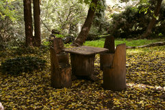 Rustic wooden picnic table and chairs in the forest Royalty Free Stock Image