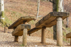 Rustic wooden picnic table and seats Stock Photo