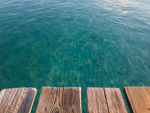 Rustic wooden pier, Majorca Stock Image