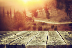 Rustic wooden planks in front of forest landscape in sunset Stock Image