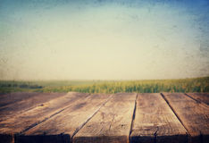 Rustic wooden planks and meadow background Stock Photo
