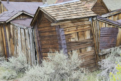 Rustic wooden shacks in Bodie stock image