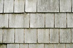 Faded Old Weathered Wooden Shingles Stock Images