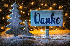 Sign, Christmas Tree, Snow, Calligraphy Danke Mean Means Thank You royalty free stock photo