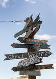 Rustic wooden signpost to various destinations at Fort Zachary, Royalty Free Stock Photos