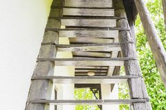 Rustic wooden staircase in country house Royalty Free Stock Photography