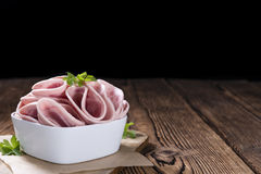 Rustic wooden table with Ham Sausage Royalty Free Stock Photos