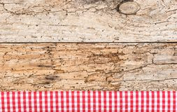Old Wooden Picnic Table Surface With Rustic Red Tablecloth ...