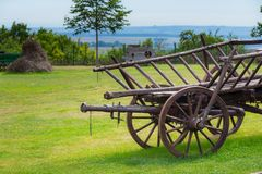 Rustic wooden wagon. Historical conveyance Stock Photo
