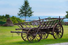 Rustic wooden wagon. Historical conveyance Royalty Free Stock Image