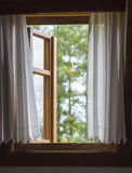 Rustic wooden window with white curtains with view on defocused. Old rustic wooden window with white curtains with view on defocused green trees Royalty Free Stock Images