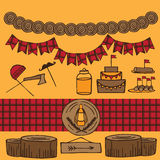 Rustic Woodsy Outdoor Lumberjack party ideas Royalty Free Stock Image