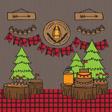 Rustic Woodsy Outdoor Lumberjack party ideas Royalty Free Stock Photography
