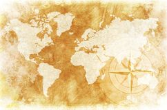 Rustic World Map. Old-Fashioned World Map Design: Rustic World Map with Compass Rose Illustration / Background Stock Photo