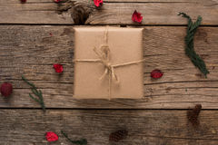 Rustic Wrapped Christmas Gift Royalty Free Stock Images