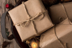 Rustic Wrapped Christmas Gifts Royalty Free Stock Photo