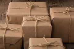 Rustic Wrapped Christmas Gifts Royalty Free Stock Image