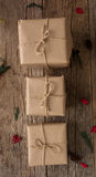 Rustic Wrapped Christmas Gifts Stock Photos