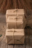 Rustic Wrapped Christmas Gifts Stock Image