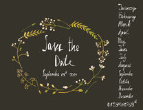 Rustic Wreath Save the Date Invitation Card with Stock Photo
