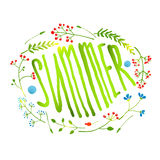 Rustic Wreath with Summer Sign Card on White Stock Photography