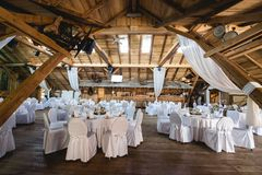 Rustical Banquet Hall Stock Photo