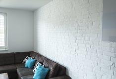 Rustical witte bakstenen muur stock foto