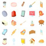 Rusticity icons set, cartoon style Stock Photos
