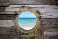Rustiek Houten Interactief Oceaan het Bekijken Beeldhouwwerk stock fotografie