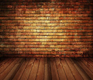 Rustiek huis binnenlandse uitstekende baksteen, houten textuur stock foto