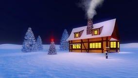 Rustiek huis en verfraaide Kerstmisboom bij nacht Stock Foto's
