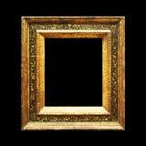 Rustiek oud overladen die kader op zwarte wordt geïsoleerd Royalty-vrije Stock Foto's