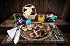 Rustiek Pasen-Horizontaal Ontbijt - Stock Fotografie