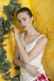 Rustiek portret van een jonge vrouw Stock Foto