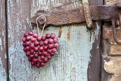 Rustiek Rood Berry Heart Hanging royalty-vrije stock fotografie