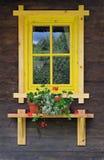 Rustiek venster en bloemen in Servië, Europa royalty-vrije stock afbeeldingen