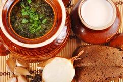 Rustiek voedsel, soep in een kleipot Stock Foto