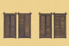 Rustieke bruine houten vensterblinden met de oude gele achtergrond van de steenmuur Stock Afbeeldingen