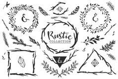 Rustieke decoratieve elementen met het van letters voorzien Hand getrokken wijnoogst Stock Afbeelding