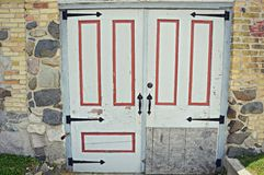Rustieke Deuren met Steen en Bakstenen muur Royalty-vrije Stock Afbeeldingen
