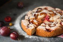 Rustieke die pruimcake met kruisbes en munt wordt versierd Stock Foto