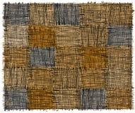 Rustieke geruite mat met grunge gestreepte ruwe rechthoekige elementen in blauw, yelow, beige, grijze kleuren stock illustratie