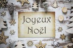 Rustieke Kerstmisdecoratie, Document, Joyeux Noel Means Merry Christmas royalty-vrije stock fotografie