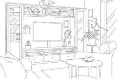 Rustieke TV-Zaal Schets en Overzichts Vectorillustratie Stock Afbeelding