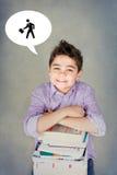 Rustig kind met boeken Royalty-vrije Stock Fotografie